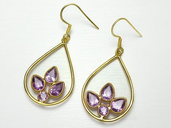 Sterling Silver Gold Overlay Amethyst Earrings