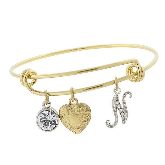 "Gold-Tone Heart and ""N"" Initial Crystal Charm Bracelet"