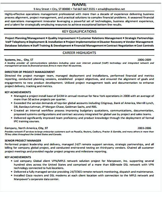 Resume Templates Project Manager Project Manager Resume Example Free Project Management Resu Project Manager Resume Manager Resume Resume Objective Examples