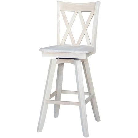 """International Concepts Double """"X"""" Back Bar Stool, 30"""", Ready to Finish"""