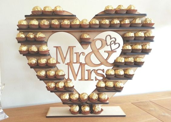 """Ferrero Rocher Heart Tree, """"Mr & Mrs"""" holds 59 or 118 you choose in Home, Furniture & DIY, Wedding Supplies, Centerpieces & Table Decor   eBay"""