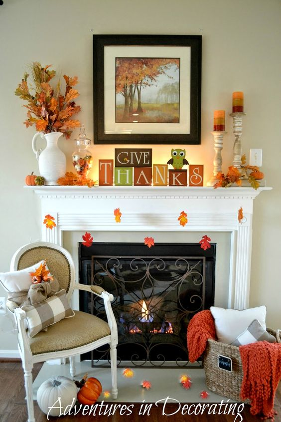 Adventures In Decorating Our Fall Kitchen: Adventures In Decorating: Our Simple Fall Mantel