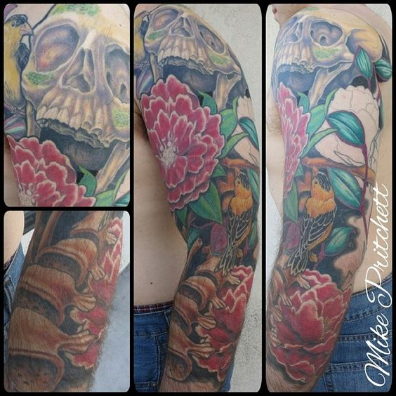 3/4 sleeve.  By Mike Pritchett at Matchless Tattoo.