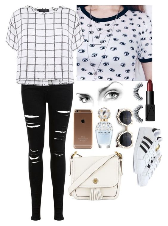 """""""Untitled #644"""" by dancer-242 ❤ liked on Polyvore featuring Miss Selfridge, NARS Cosmetics, Myne, adidas, Marc Jacobs and Tory Burch"""