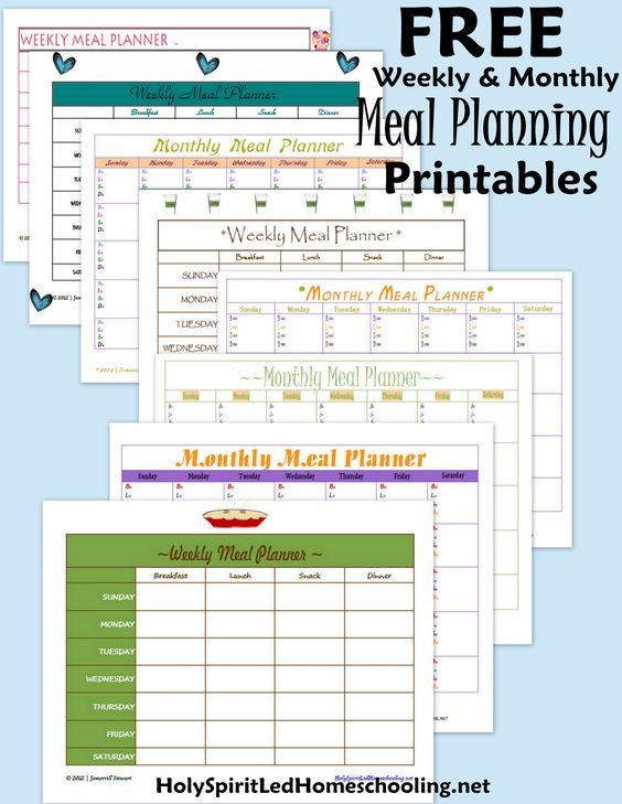 Free Meal Planning Printables: Download several free weekly & monthly meal planning printables HolySpiritLedHomeschooling.net