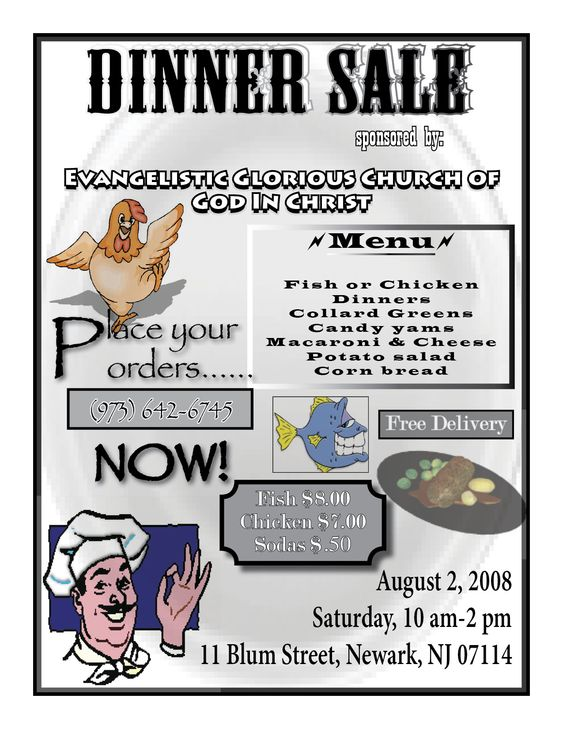 Sample Dinner Flyers Sales | Dinner Sale - Taylor Graphix | DInner ...