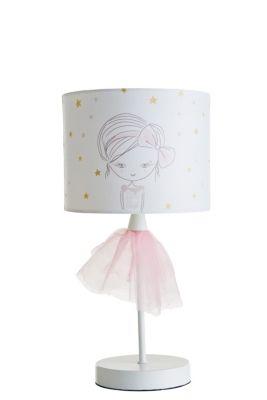 lampe a poser ballerine blanc rose en