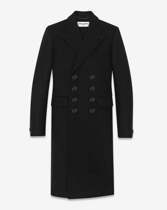 CLASSIC SAINT LAURENT DOUBLE-BREASTED COAT WITH PICK STITCHED PEAK LAPEL