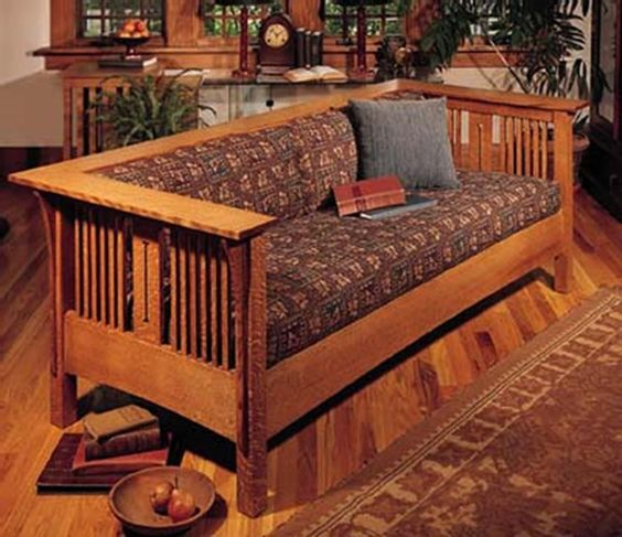Arts and crafts mission sofa and chair woodworking plan for Craftsman furniture plans