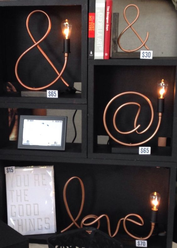 at symbol copper pipe lamp exposed edison bulb cuivre. Black Bedroom Furniture Sets. Home Design Ideas