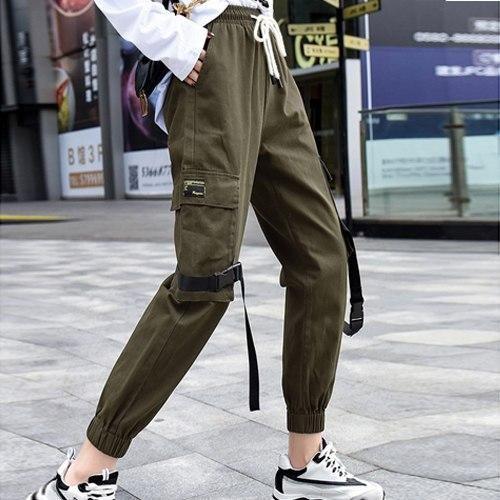 Khaki Cargo Pants Harem Military Loose Baggy Pants Women Cotton Hip Hop Cargo Pants Women S Sweatp Baggy Pants Women Drawstring Pants Fashion Cargo Pants Women