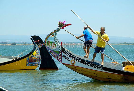Traditional moliceiros of the Aveiro river (ria de Aveiro). Portugal