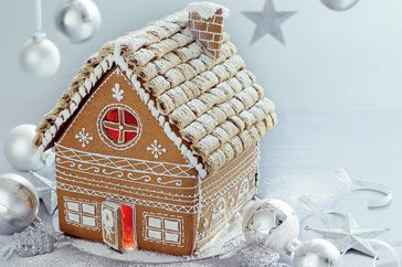 Gingerbread house ((love the Frosted Mini Wheats roof shingles!!))