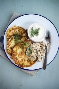 Polish potato pancakes with mushroom sauce | Jamie Oliver