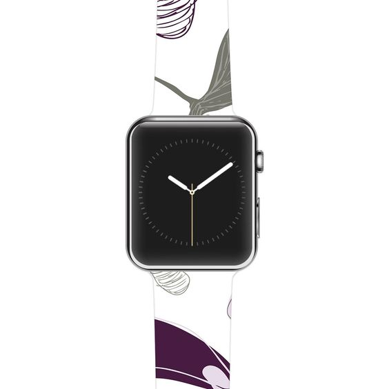 "Laurie Baars ""Mapleseeds Plum"" Yellow Purple Apple Watch Strap"