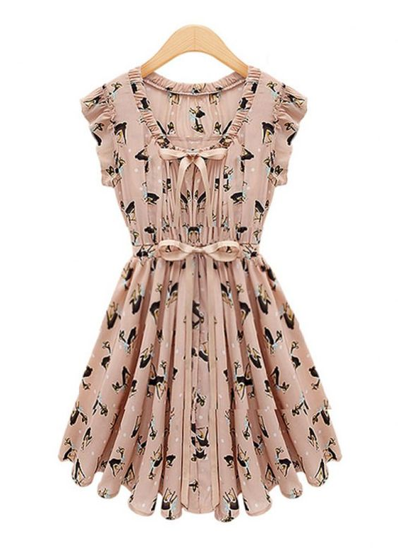 Pink Tiered/Ruffle Dress - Deer Print Bowknot Ruffles Chiffon | UsTrendy