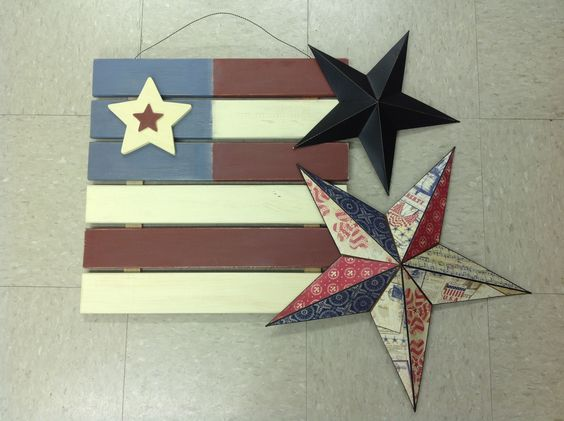 Patriotic crafts with mod podge metal stars and painted pallet signs.