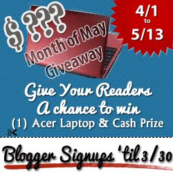 Sign up now for the Month of May giveaway!  http://www.misadvmom.com/2012/01/month-of-may-giveaway.html