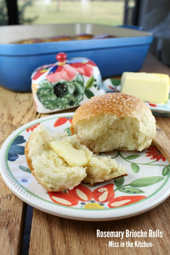 Rosemary Brioche Rolls from Miss in the Kitchen