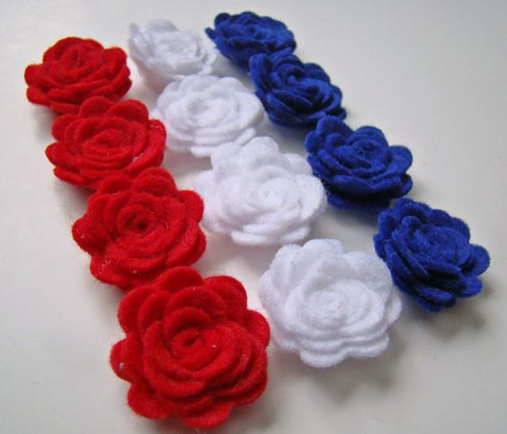 Felt Flower Rose Patriotic July 4th Tiny Flower Collection Set of 12 Red White & Blue on Etsy, $5.99