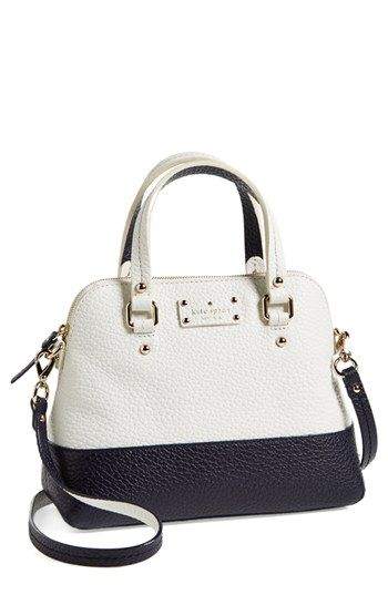 Small satchel from Kate Spade in black/white color block: Leather Satchel, York Small, Maise Leather, Small Leather, Court Maise, Small Grove, New York, Grove Court, Kate Spade