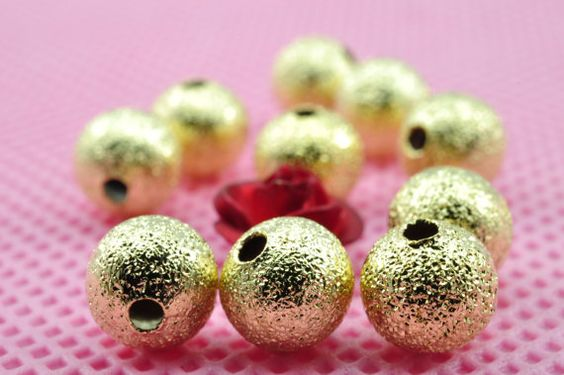 200 pcs of Gold plated Matte Spacer round beads in 6mm