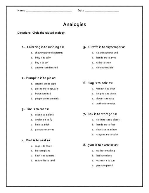 Free Analogy Worksheets For Middle School 001 analogy worksheets for middle school