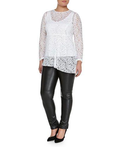 -5K0H Marina Rinaldi Facilita Long-Sleeve Lace Tunic & Roma Faux-Leather Pants, Women's
