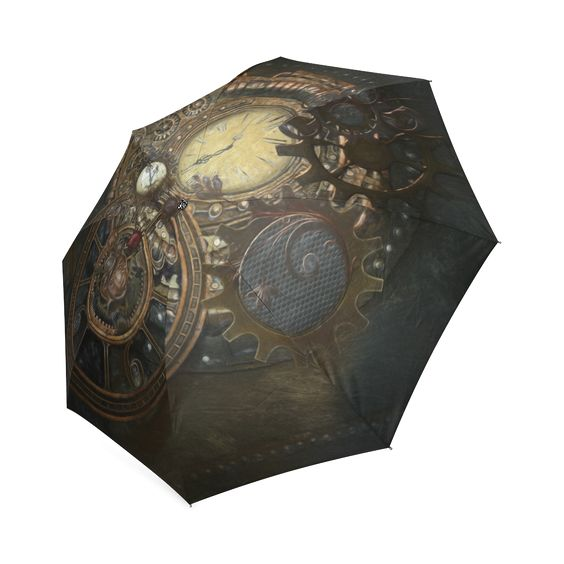 #Painting #Steampunk #clocks and #gears Foldable #Umbrella - thanks to the customer! sold at @artsad