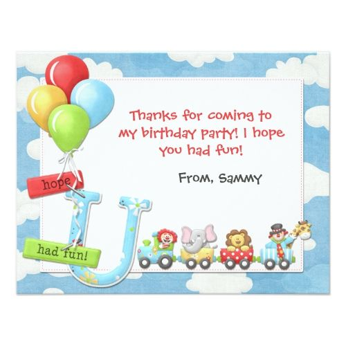 Kids Circus Birthday Party Thank You Card Zazzle Com In 2021 Circus Birthday Party Birthday Thank You Cards Thank You Cards From Kids