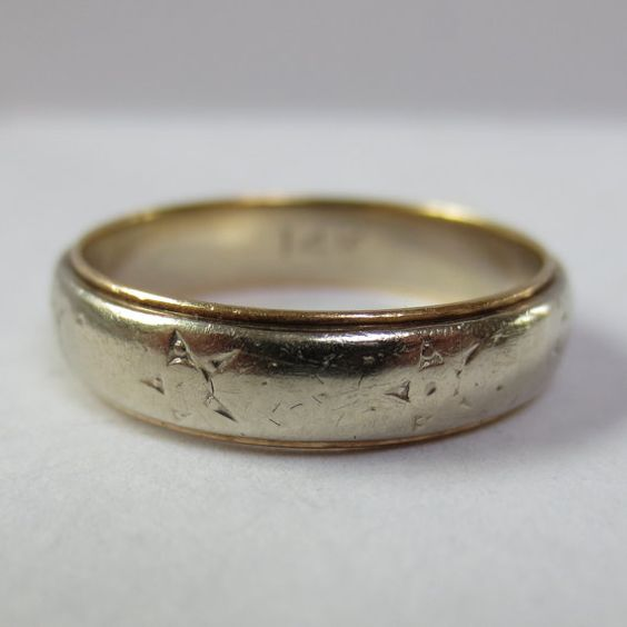 1940s White and Yellow Gold Wedding Band by HatIslandEstateJewel, $239.00
