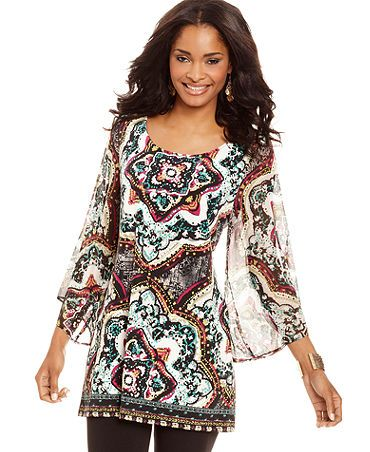 This shirt is beautiful. Reminds me of styles from India. #Macys #FallFashion #sponsored