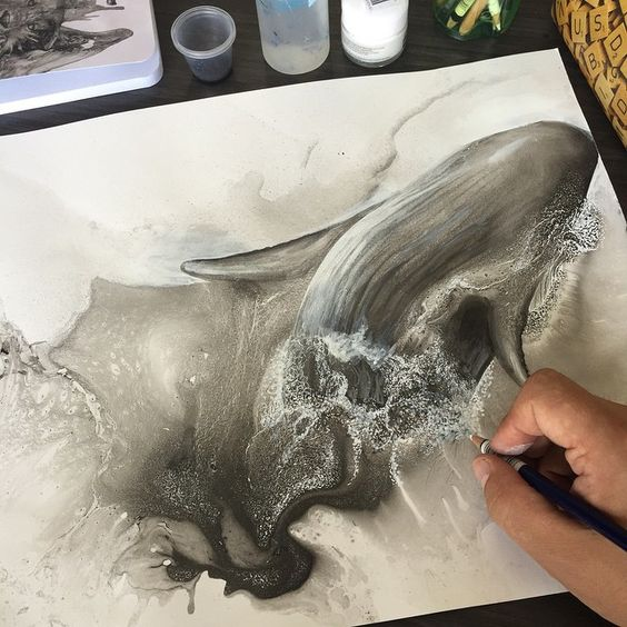New whale drawing in progress.
