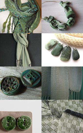 Moody Greens by Kora w/my Lightweight Avocado Sage Woven Scarf #aclhandweaver #handweaversofetsy