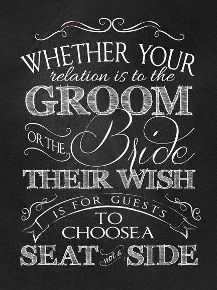 "Wedding Ceremony ""No Seating Plan"" Sign, INSTANT DOWNLOAD, 18""x24"", Printable, DIY, Sign, Seating Plan, Chalkboard, Vintage"
