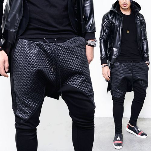 leather like quilting mens fashion contrast crotch drop baggy sweatpants by men 39 s. Black Bedroom Furniture Sets. Home Design Ideas