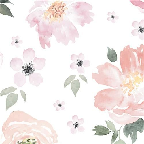 Anewall Pretty In Pink Modern Classic Pastel Floral Removable Wallpaper Watercolor Floral Wallpaper Floral Wallpaper Flower Wallpaper