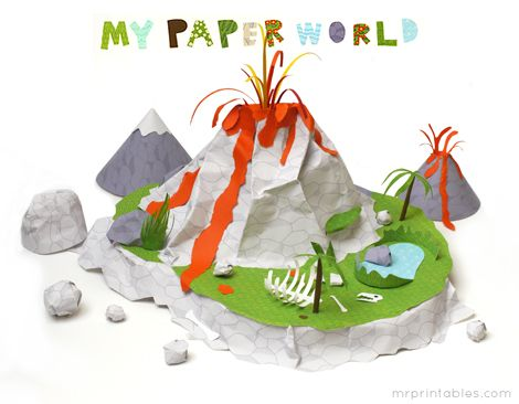 paper volcano scene made from 'My Paper World' papers - fun!