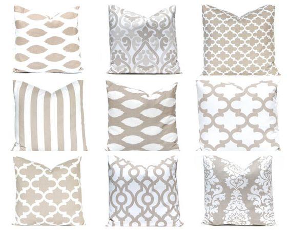 Euro Sham Taupe Pillows, Tan Pillow Covers, Decorative Pillow, ONE Throw Pillow Cover, Pillows, Tan Pillow  Damask Pillow Chevron Pillow