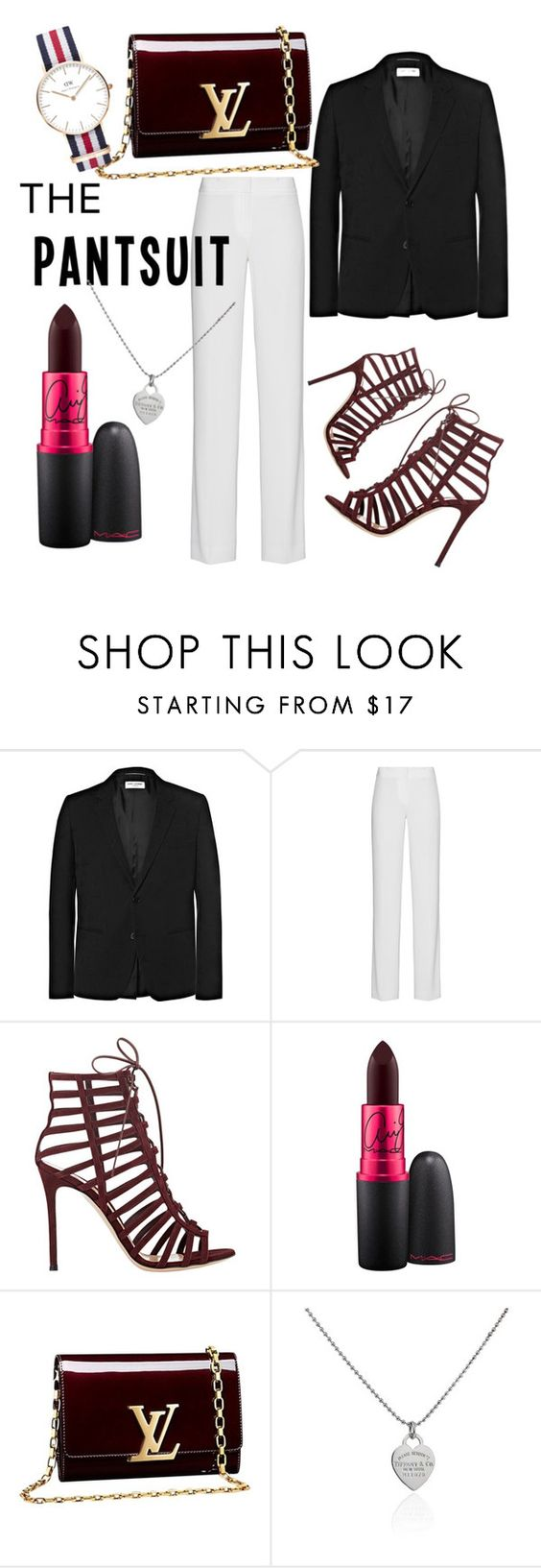 """business lady meets goth"" by newbrokenscenegirl ❤ liked on Polyvore featuring Yves Saint Laurent, DKNY, Gianvito Rossi, MAC Cosmetics, Louis Vuitton, Tiffany & Co., Daniel Wellington, darklips, thepantsuit and BerryLipstick"