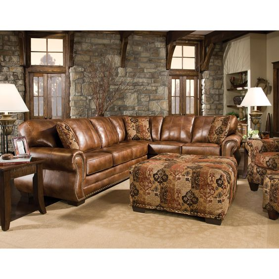 Corinthian 5300 Traditional Styled Sectional Sofa With: Saddle Brown 2-Piece Sectional