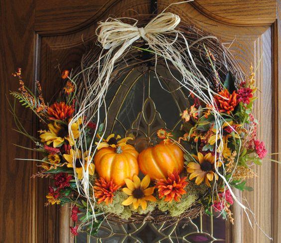 Fall Autumn Halloween Wreath Diy Flowers Wreaths