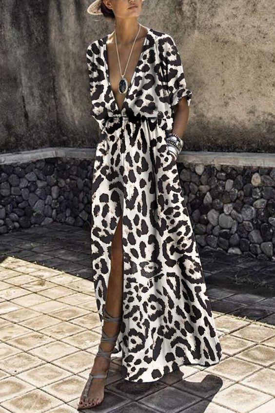 Sexy Deep V Collar Leopard Printed Maxi Dress – mumetaz