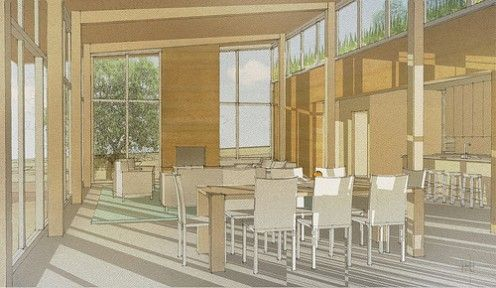 Presentation rendering of a open plan living space.