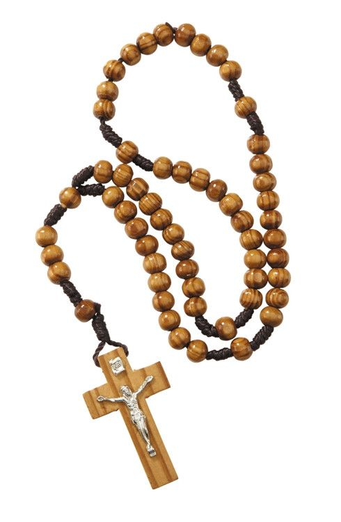 8mm Wood Cord Rosary