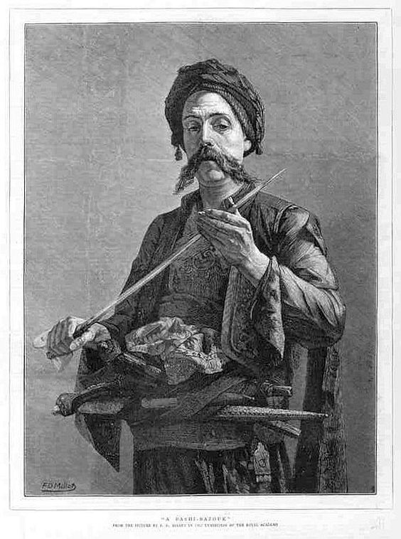 "Bashi-bazouk or bashibazouk (Turkish literally ""damaged head"", meaning ""free headed"", ""leaderless"", ""disorderly"") was an irregular soldier of the Ottoman army. Particularly noted for their lack of discipline.:"