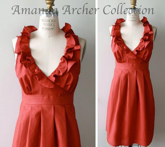 Paprika Orange Cotton Bridesmaid Dress Made-To-Order