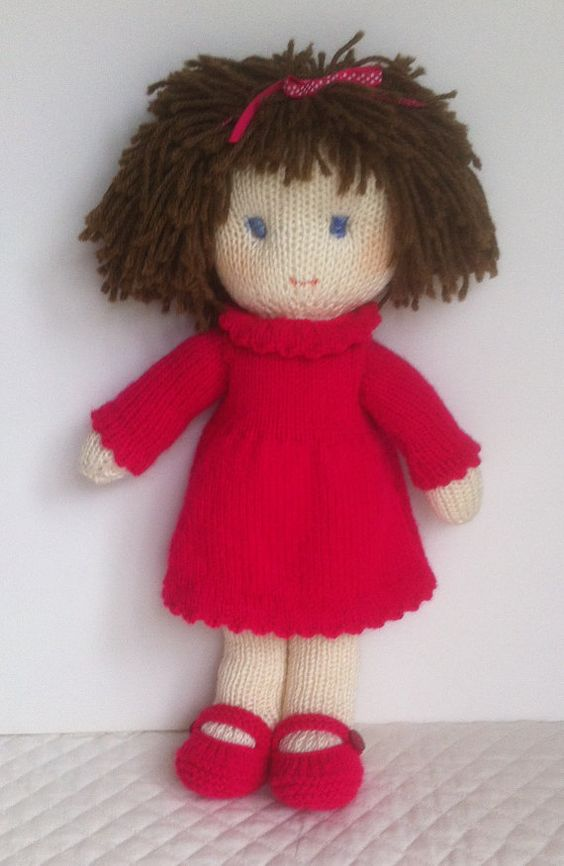 Doll Knitting Pattern pdf - Instant Download Wool, Flats and Style