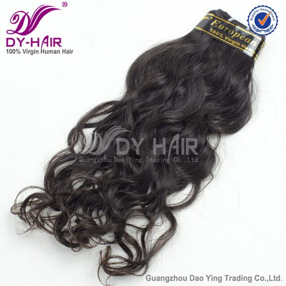 Color 1B# natural wave hairstyle European human hair extension. http://www.dyhair777.com/European-Vigin-Hair.html