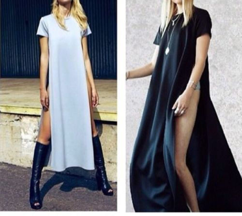 New-Black-Sexy-Dress-Jag-Punk-Gothic-Womens-Celebrity-maxi-casual-shirt-dress